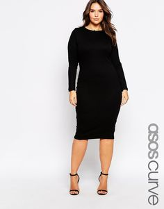 Plus Size Midi Body-Conscious Dress