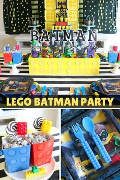 Lego Batman Party What could be better than Legos + Batman? How 'bout a Lego Batman Party! Sweetly Chic Events & Design created the ultimate [. Lego Batman Party, Lego Batman Cakes, Lego Batman Birthday, Lego Birthday Party, 6th Birthday Parties, Batman Batman, Birthday Ideas, Batman Party Supplies, Fans