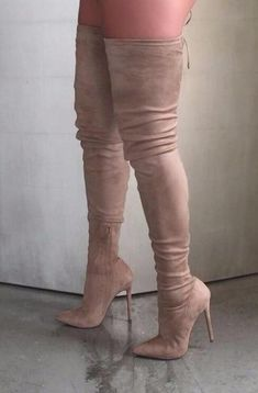 2017 Hot Selling Women Sexy Pointed Toe Corduroy Over Knee High Heel Boots Slim . - 2017 Hot Selling Women Sexy Pointed Toe Corduroy Over Knee High Heel Boots Slim Bandage Elastic Thigh Long Boot Dress Shoes Source by - Cute Shoes, Me Too Shoes, Talons Sexy, Knee High Heels, High Shoes, Beige Knee High Boots, High Heel Sneakers, Dress With Boots, Designer Shoes