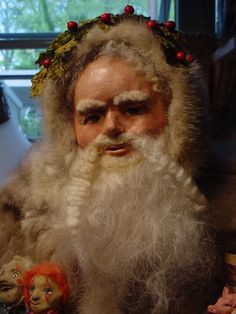 """Norma DeCamp Lg Seated 30"""" Santa German boots, toys dressed in lovely Sable Fur"""
