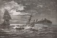 Ilustración de stock : Shipwreck of steamer Ville-du-Havre in Atlantic, November 22, 1873, drawing by Theodor Alexander Weber (1838-1907) from a sketch by the authors, from Storms and Shipwrecks, 1870-1874, by Frederic Zurcher (1816-1890) and Elie Philippe Margolle (1816-1884)