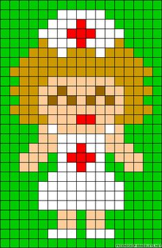 Nurse perler bead pattern Melty Bead Patterns, Perler Patterns, Beading Patterns, Cross Stitch Cards, Cross Stitching, Cross Stitch Designs, Cross Stitch Patterns, Seed Bead Crafts, Perler Bead Templates