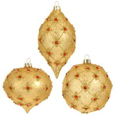 Shelley B Home and Holiday - Gold Beaded Ornament Set of 3 RAZ Garnet, $23.50 (http://shelleybhomeandholiday.com/gold-beaded-ornament-set-of-3-raz-garnet/)