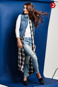 "Back to classics. So many new ways to style a pair of ripped skinny jeans, but the best is as edgy as it is easy. Layer with a plaid duster + denim jacket, and throw on some sick loafers for the coolest ""everyday"" look yet."