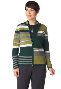 Mixed Stripe Zip Caridgan - View All TopsChristopher & Banks   Christopher and Banks