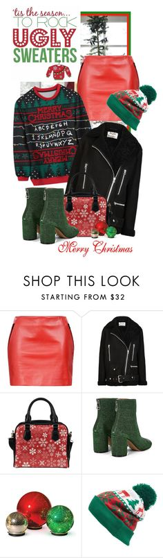 """""""Get Your Ugly Sweater Crazy Style On..Merry Christmas!!!"""" by shortyluv718 ❤ liked on Polyvore featuring Barbara Bui, WALL, Acne Studios, Maison Margiela, Improvements and Collection XIIX"""