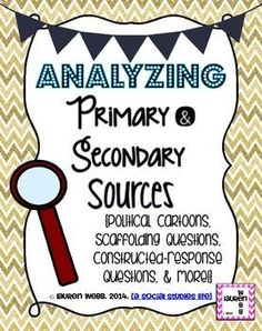 Analyzing Primary & Secondary Sources! {An Introduction to analyzing political cartoons, answering scaffolding questions, constructed-response questions, and more!} (c) Lauren Webb 2014 {a social studies life}