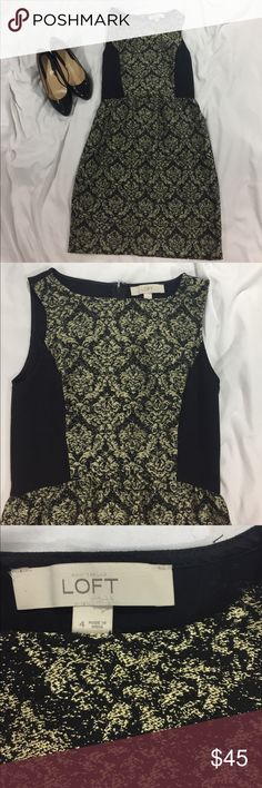 LOFT Gold and Black Dress LOFT Gold and Black Dress. Size 4. In great condition LOFT Dresses