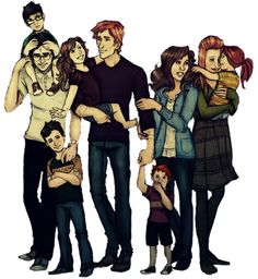 Potters, Weasleys & Grangers, all grown up. Seriously loving this drawing.