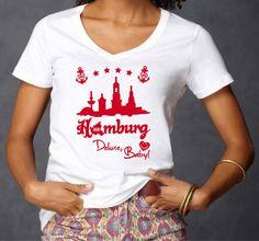 INDIVIDUELLES HAMBURG SKYLINE DELUXE, BABY! EDLES LADIES SEXY V-NECK T-SHIRT!