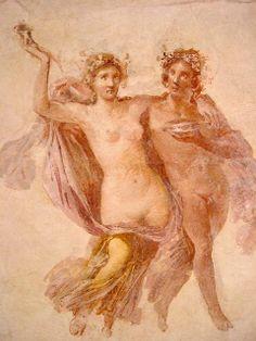 Maenad and Bacchus, Roman fresco