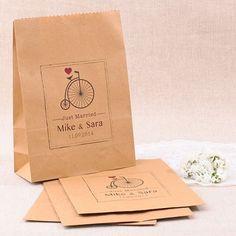 Bolsas Kraft personalizadas para detalles de boda: Just Married