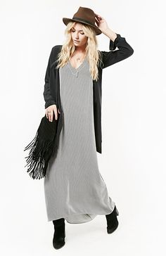FLYNN SKYE Striped Day Maxi Dress in Black XS - S | DAILYLOOK