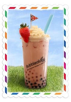 British Summer Bubbleology special: Strawberry & Cream bubble tea available from May www.bubbleology.co.uk