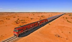 The Ghan. This train was part of the first train service that went from Adelaide to Darwin. When it first ran, more than seven years ago, it had forty-three coaches and could transport more than three hundred passengers. #Australia #Train