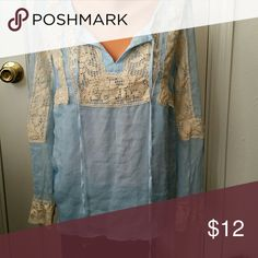Top Crinkle crape with cotton lace, sheer with bodice liner sundance Tops Blouses
