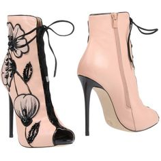 Divino Ankle Boots ($215) ❤ liked on Polyvore featuring shoes, boots, ankle booties, pink, floral booties, leather ankle booties, floral ankle boots, leather boots and pink leather boots