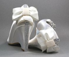Wedding Shoes  Ivory Peep Toe Wedding Wedges by DesignYourPedestal, $283.00
