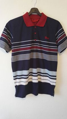 D 555 Polo Neck T Shirt Striped King Size Blue Wine White Stripes Size S NWOT