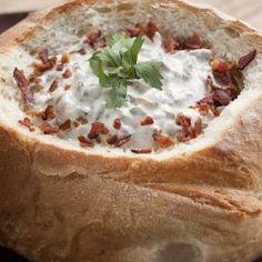 Savory Stuffed Mushroom Dip in a Bread Bowl