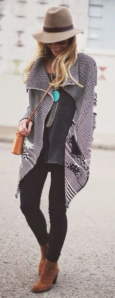 Great black and white poncho. Love the mix of black and tan. Perfect with black skinnies and fedora! Stitch fix fall 2016. Stitch fix fall fashion.