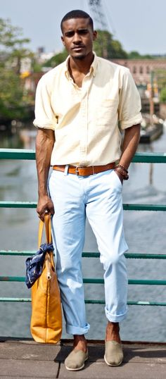 Perfect combination of color and accessories to just make people stop and look. Pastels work beautifully here - light yellow rolled up shirt with a light blue (baby blue for some of you) chinos. Go strong on the accessories. The slip-ons completes a casual feel.