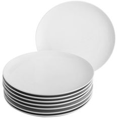 Simply brilliant. Refined enough for formal dinners, yet totally at home in casual gatherings. This porcelain dinnerware is sleek and chic. This set includes eight dinner plates.