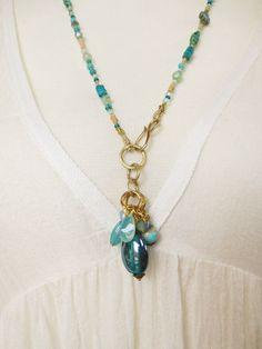 Hippie Boho Bohemian necklace gemstones glass beads opals Jade brass handmade unique OOAK agate turquoise old african  clay beads Hippie Kette Boho Türkis Messing Tribal afrikanische Tonperlen