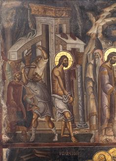 The Flaggelation of Christ. Fresco. 1312. Vatopedi monastery, Mt Athos, Greece. A masterpiece of byzantine painting.