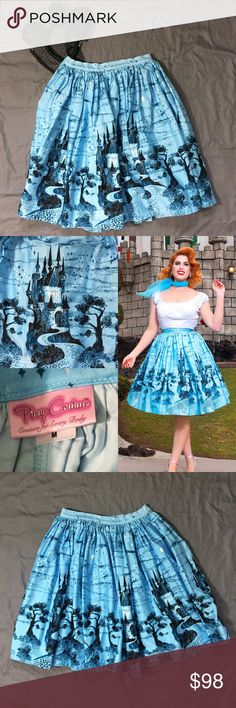 """PUG Blue Castle Jenny Skirt •Excellent •Like the full skirts of the 1950s our USA-made Jenny Skirt is made of high-quality cotton sateen to get the most fullness with the neatest gathers & a wide waistband & back zipper for a nipped in waist. The fullness works to slim bigger hips, make your waist look smaller while creating instant curves for those more slender.  Waist 28"""" ~ pin up couture, retro, vintage style, 1940s, Laura Byrnes, Disney, fantasy~  ❗️Please ask any & all questions before…"""