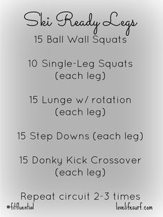 Great leg workout to get you ski ready