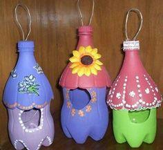 Repurpose 2lt coke bottle in to folk art bird houses or fairy houses ....so cute!