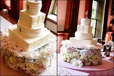 Beautiful Wedding Cake with Fresh Flowers