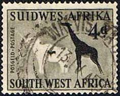 South West Africa 1960 Rock Paintings White Elephant and Giraffe Fine Used SG 169 Scott 264 Other African and British Commonwealth Stamps HERE!