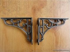 A PAIR OF SMALL CLASSIC VICTORIAN SCROLL SHELF BRACKETS 4 INCH BRACKET CAST IRON #ANTIQUE