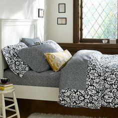Damask Duvet Cover + Pillowcases, Black