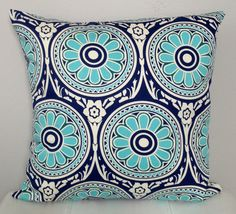 REVERSIBLE Pillow Cover Navy Turquoise Suzani by TwigandIris
