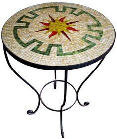 Mosaico Mesa circular motivos incaicos