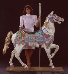 Beige Illions Stander Carousel Horse