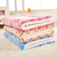 Pet Mat Cat Dog Fleece Blanket Bed Washable Soft Cushion Kennel Cage Pad House