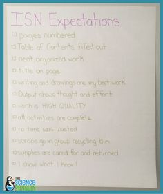 Interactive Science Notebook Expectations Anchor Chart