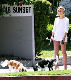 who the hell walks their dogs in heels? I have three crazy dogs! Come on, now!