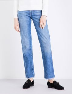 ALEXACHUNG Straight cropped high-rise jeans