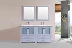 "60"" Newport Gray Double Modern Bathroom Vanity with Integrated Sinks #PacificCollection #HomeRemodel #BathroomRemodel #BlondyBathHome #BathroomVanity"