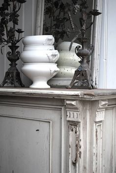 Decorate With Collections Of Creamy White Ironstone - decoration,wood,wood working,furniture,decorating French Style Homes, White Dishes, Farmhouse Style Kitchen, Antique Stores, White Decor, Kitchen Styling, Painted Furniture, White Furniture, White Porcelain