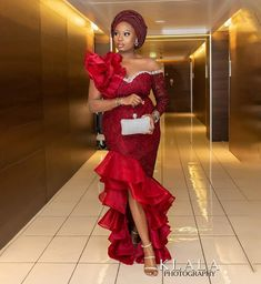 Nigerian Lace Styles Dress, Aso Ebi Lace Styles, African Lace Styles, Lace Dress Styles, African Wear Dresses, Latest African Fashion Dresses, Ankara Styles, Red Lace Gown, The Dress