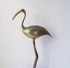 Solid Brass Flamingo / Brass Crane / Bird by TeaAndHoneyVintage