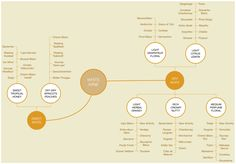 A mindmap containing the types of white wines.