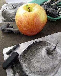 Kultegning - charcoal still life drawing of an apple- grade 8 Drawing Lessons, Drawing Techniques, Art Lessons, Drawing Tips, Drawing Ideas, Basic Drawing, Easy Charcoal Drawings, Charcoal Art, Charcoal Drawing Tutorial