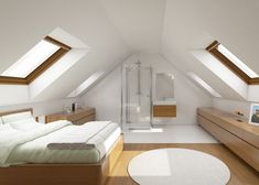 I really love this good looking attic office Attic Bedroom Small, Attic Bedroom Designs, Attic Bedrooms, Attic Spaces, Attic Master Bedroom, Bedroom Loft, Home Room Design, House Design, A Frame Cabin Plans